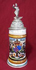 Old Antique GERMAN MILITARY REGIMENTAL BEER STEIN Lithophane Bottom Solider Lid