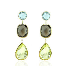 14K Yellow Gold Gemstone Earrings With Smoky, Lemon And Blue Topaz