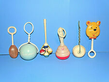 Six Vintage Baby Rattles Shakers Celluloid Plastic