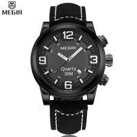 2016 MEGIR Large Dial Casual Watch Men Quartz Military Sport Watch Digital Men's