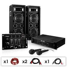 Sono Enceinte DJ Plug&Party Ampli PA Mixer DJ 2 Micro Karaoké 1200W Bassreflex