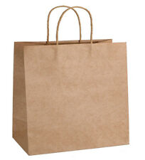Kraft Paper Bistro Bags with Twist Handle for Restaurant Take Out (12x9x13.75)