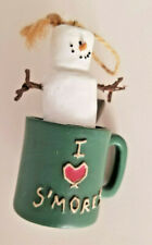 """Charming S'mores Ornament: Snowman in Mug """"I Love S'mores"""" Approximately 3"""" Tall"""