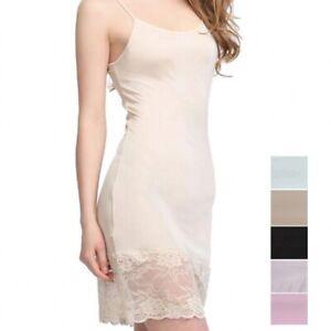 Women's 50% Silk Knit Lace Full Slip Sleepwear Chemise Adjustable Strap SG323