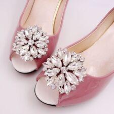 Rhinestone Crystal Wedding Bridal Diamante Crystal Sparkle Shoe Clips Pair