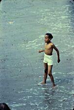 VTG 1950s 35MM SLIDE BEACH SCENE AFRICAN AMERICAN BOY IN WATER SHORELINE #21-5U