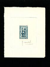 Congo 1964 Arts & Crafts Scott 116 Signed Sunken Die Artist Proof in Grey Blue