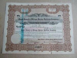 Old 1915 - PUGET SOUND & WILLAPA HARBOR RAILWAY Stock Certificate -  Washington
