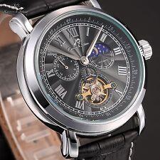 KS Navigator Men's Leather Automatic Mechanical Day&Night Classic Sport Watch