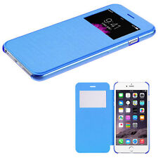 For Apple iPhone 6 / 6s Leather Wallet View Window Skin Case Cover Slim Blue