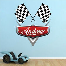Personalized Boys Race Car Name Wall Decal Mural Racing Flags Custom, b44