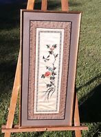 """Antique Chinese Silk Embroidered Panel, 9.5"""" x 23.5"""""""