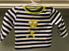 Baby Boden Girls Top Sz 0-3 Mo Blue/White Striped Yellow Applique on Front Vguc