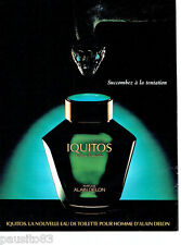 PUBLICITE ADVERTISING 086  1984  Iquitos eau toilette homme Alain Delon
