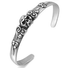 MENDINO Men's Stainless Steel Bracelet Bangle Cuff Skull Punk Rock Silver Black