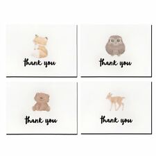 Cute Wildlife Letterpress Thank You Cards and Gray Self Seal Envelopes 36 Pack
