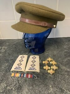 Army Officers Khaki Cap 7 Herbert Johnson Royal Signals Pips And Shoulder Pads