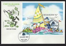 """Disney Pluto, Donald 1984 Easter (FDC) First Day Issue """"Caicos Island"""" Stamp"""