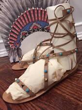NIB Valentino Rockstud Nude Bead Strap Gladiator Ankle Flat Sandal 36.5 $1395