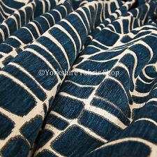 New Stones Geometric Pattern Blue Cream Sove Wove Chenille Upholstery Fabric