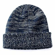 Apt. 9 Men's One Size Space-Dyed Navy Marble Knit Cuffed Beanie NEW $20