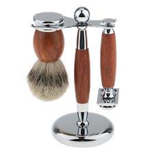 3 in 1 Luxury Safety Shaving Razor + Badger Hair Brush+ Alloy Holder Stand