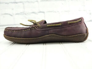 LL BEAN Women's Leather Flannel-Lined Handsewn Moc Slippers Plum 301104 US 9M