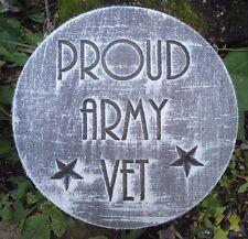 "Army Veteran mold 10"" x .75"" thick plastic mold plaster concrete casting"