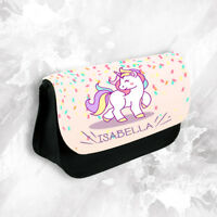 Personalised Any Name Unicorn Pencil Case Make Up Bag School Kids Stationary