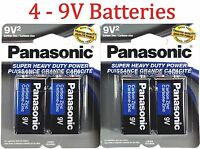4 Wholesale 9V Panasonic 9 Volts Batteries Battery Super Heavy Duty Lot