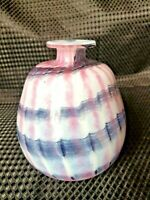 Vintage Mtarfa Malta Art Glass Bud Vase Handblown Signed pink/purple/white swirl