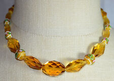 VTG Gold Tone Faceted Topaz Cut Crystal Wedding Cake Beaded Choker Necklace