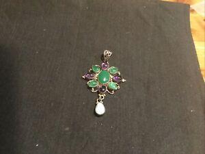 Silver , Jade And Amethyst Pendant