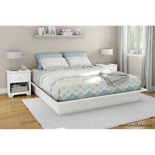 Queen Size Platform Bed Frame Bedroom Foundation Furniture White