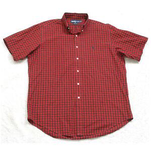 Ralph Lauren Red Black Short Sleeve Mans Large 16 Cotton Striped Dress Shirt W3