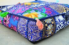 Indian Patchwork Large Floor Ottoman Pouf Cushion Pillow Cover Square Pet Dog