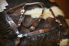 BLING ! WESTERN SADDLE HORSE BRIDLE BREAST COLLAR PLATE WITH  LEATHER FRINGE