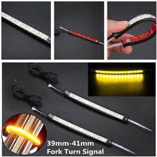 2pcs Motorcycle LED 39-41mm Fork Turn Signal Strip Amber Lamp For Harley Victory