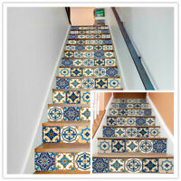 6/13Pcs 3D Staircase Stair Riser Floor Stickers Vinyl Wall Mural Tile Decals