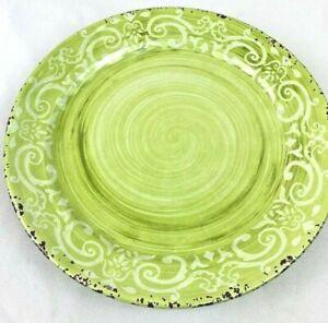 Set Of 2 Nicole Miller Grey Floral MELAMINE Salad Plates Rustic Green Swirl