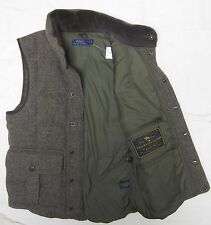 NWT Ralph Lauren Herringbone wool leather hunting tweed down vest S