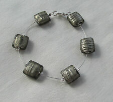 Handmade Black Silver Grey Glass Foil Pillow Beady Miracle Illusion Bracelet
