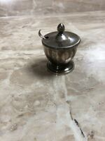 Vintage Silver Blue Bowl Condiment Salt Cellar Sugar with Spoon Made in Italy