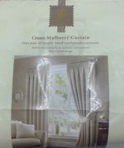 Cream Curtain Pencil Pleat Mulberry The Heritage Collection Brand New RRP £130