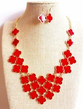 Gold Plated Red Fashion Cluster Enamel Bib Bubble Necklace Earrings Set