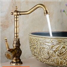 Tall Antique Brass Bathroom Basin Faucet Embossed Body Vanity Sink Mixer Tap NEW