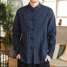 Fall Chinese Long Sleeve Stand Collar Stripe Shirt Mens Linen Button Shirt 2Colo