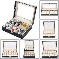 20 Slot Watch Box Leather Storage Display Case Organizer Top Glass Jewelry Black