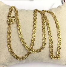 24k Solid Gold O Link Chain/ Necklace. 16 Inches. 12.98 Grams