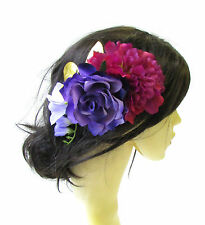 Large Purple Gold Leaf Fuchsia Pink Rose Flower Hair Comb Vintage Headpiece 1514